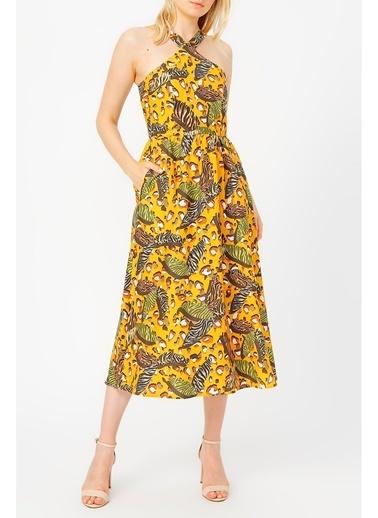 Random Yaka Detaylı Hardal Desenli Elbise Hardal